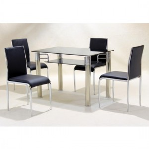 Vercelli Black Glass Dining Set With 4 Chairs