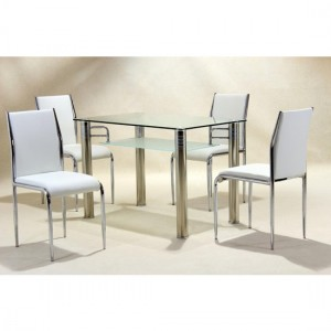 Vercelli Clear Glass Dining Set With 4 Chairs