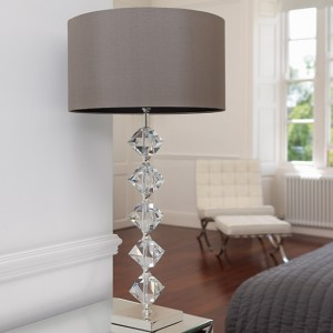 Verdone Taupe Silk Fabric Table Lamp In Clear Crystal