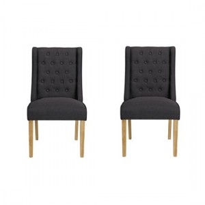 Verona Charcoal Linen Fabric Dining Chairs In Pair