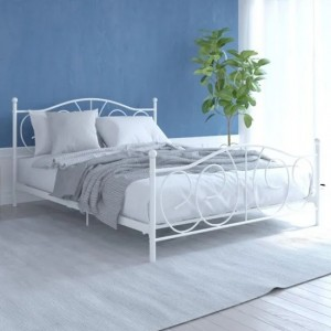 Victoria Metal Double Bed In White