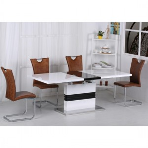 Vienna Extending Dining Table In High Gloss White And Black With 6 Chairs