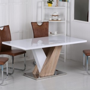 Vienna Extending Dining Table In High Gloss White And Natural With 6 Chairs