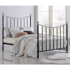 Vienna Metal King Size Bed In Black And Silver