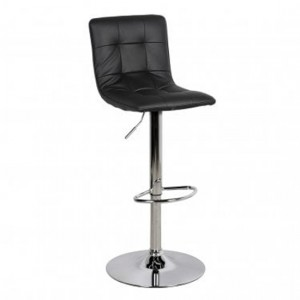 Vigo Faux Leather Gas Lift Bar Stool In Black