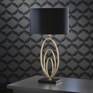 Vilana Table Lamp In Antique Gold Leaf And Black Marble Base