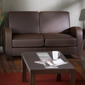 Vivo Faux Leather 2 Seater Sofa In Chestnut