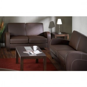 Vivo Faux Leather 3 Seater Sofa In Chestnut