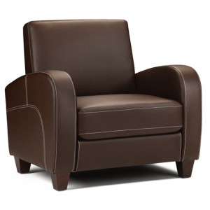 Vivo Faux Leather Armchair In Chestnut