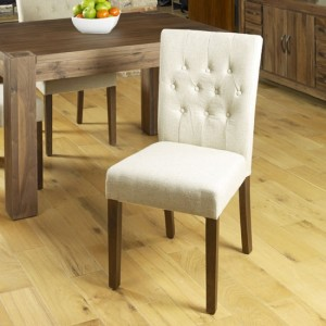 Vrux Flare Back Biscuit Fabric Upholstered Dining Chairs In Pair