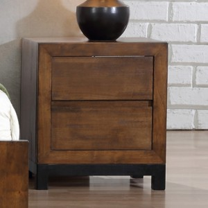 Vulcan Wooden Bedside Cabinet In Rustic Oak With 2 Drawers