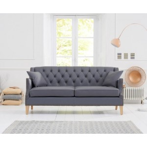 Oregon 3 Seater Sofa In Grey Leather With Natural Ash Legs