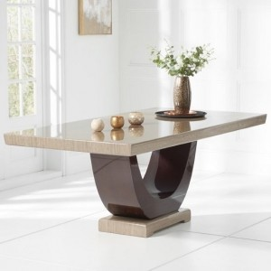 Memphis Marble Large Dining Table In Light And Dark Brown