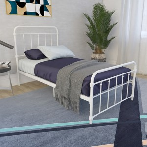 Wallace Metal Single Bed In White