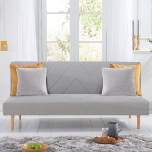 Waltham Linen Upholstered Sofa Bed In Grey