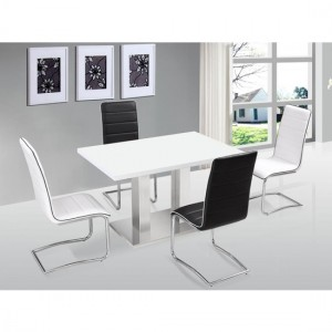 Walton Wooden Dining Set In White High Gloss With 4 Chairs