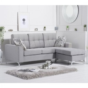 Waso Reversible Linen Upholstered Corner Chaise Sofa In Grey