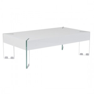 Waverly Wooden Coffee Table In White High Gloss With Glass legs