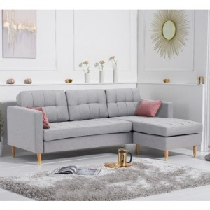 West Ridge Reversible Linen Upholstered Corner Chaise Sofa In Grey
