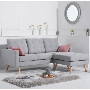 Wester Reversible Linen Upholstered Corner Chaise Sofa In Grey