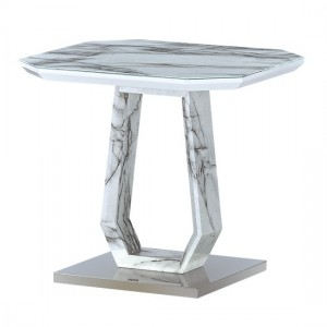 Westlake Marble Effect Glass Top Lamp Table With Stainless Steel Base
