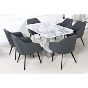 Westlake White Marble Effect Glass Dining Set With 6 Chairs