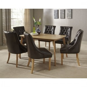 Westminister Dining Table In Oak With 6 Brown Leather Hampton Chairs