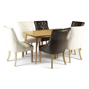 Westminister Dining Table In Oak With 6 Multi Color Hampton Chairs