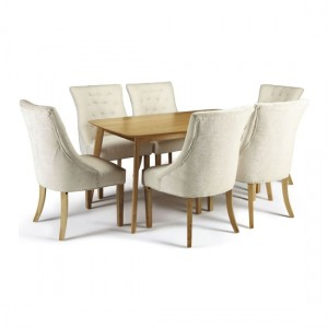 Westminister Dining Table In Oak With 6 Pearl Fabric Hampton Chairs