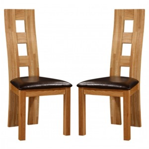 Weston Oak Wooden Dining Chairs In Pair