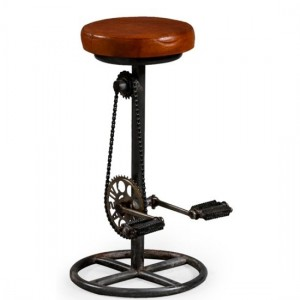 Wicko Reclaimed Metal Cycle Paddle Stool In Black With Brown Seat