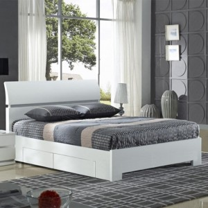 Widney Wooden Storage Double Bed In White High Gloss With 4 Drawers