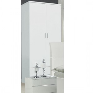 Widney Wooden Wardrobe In White High Gloss With 2 Drawers