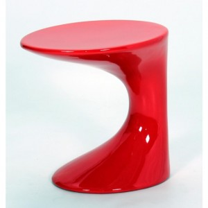 Wilcox Wooden Lamp Table In Red High Gloss