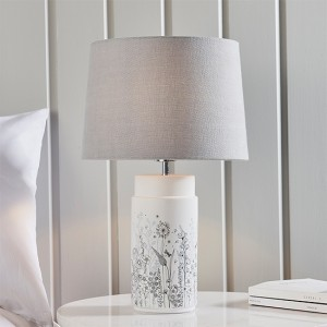 Wild Meadow And Mia Charcoal Shade Table Lamp In Matt White
