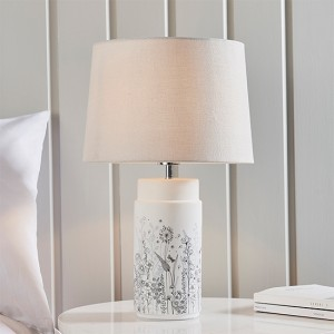 Wild Meadow And Mia Natural Shade Table Lamp In Matt White