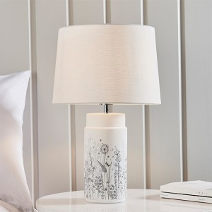 Wild Meadow And Mia Vintage White Shade Table Lamp In Matt White