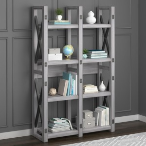 Wildwood Wooden Bookcase In Rustic White