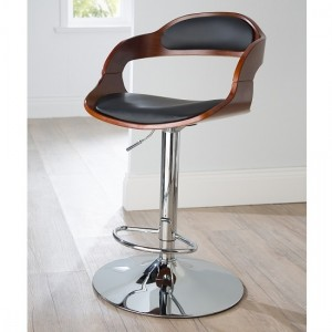Windsor Faux Leather Bar Stool In Black And Walnut