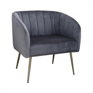 Wingfield Velvet 1 Seater Sofa In Grey With Gold Metal Legs