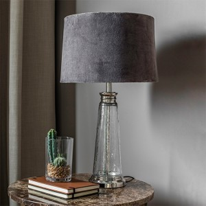 Winslet Grey Velvet Tapered Shade Table Lamp In Clear Glass Base