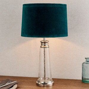 Winslet Teal Velvet Tapered Shade Table Lamp In Clear Glass Base