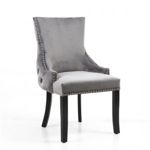 Winslow Grey Brushed Velvet Accent Chair In Pair