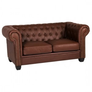 Winston Faux Leather And PVC 2 Seater Sofa In Auburn Red