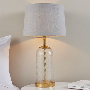Wistow And Mia Charcoal Shade Table Lamp In Clear Glass Base