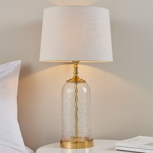 Wistow And Mia Natural Shade Table Lamp In Clear Glass Base