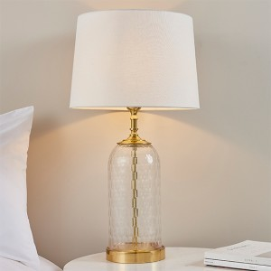 Wistow And Mia Vintage White Shade Table Lamp In Clear Glass Base