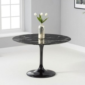 Celine Round Marble Table In Black Gloss With Pedestal Base