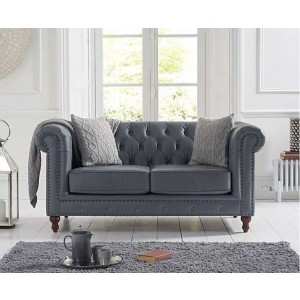 Concetta 2 Seater Sofa In Grey Leather With Dark Ash Legs