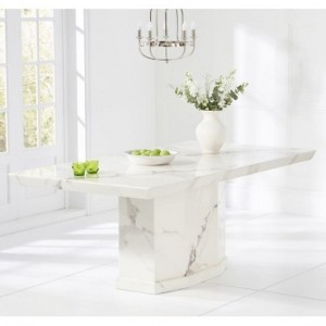Carvelle Marble Large Dining Table Rectangular In White